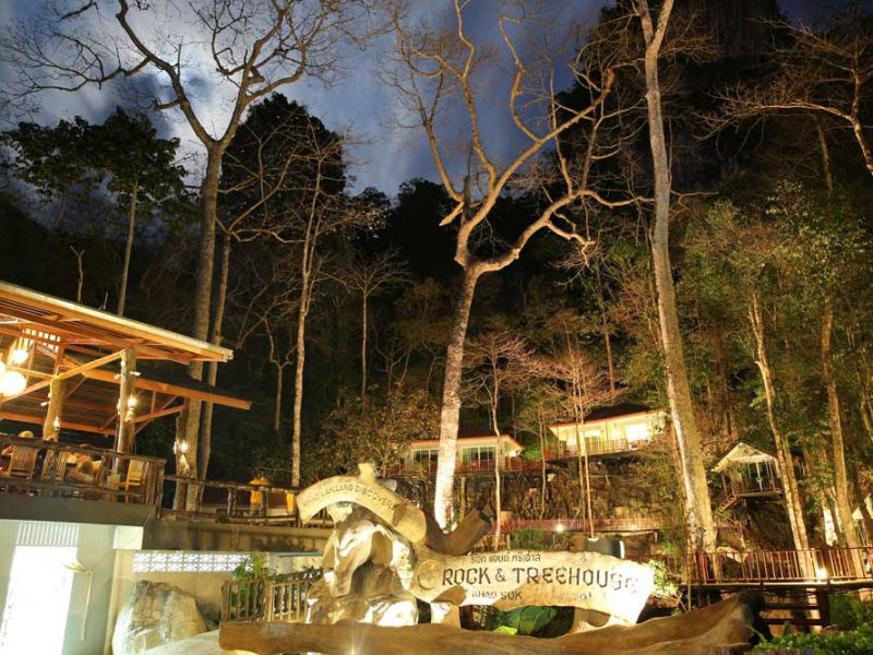rock and tree house by night