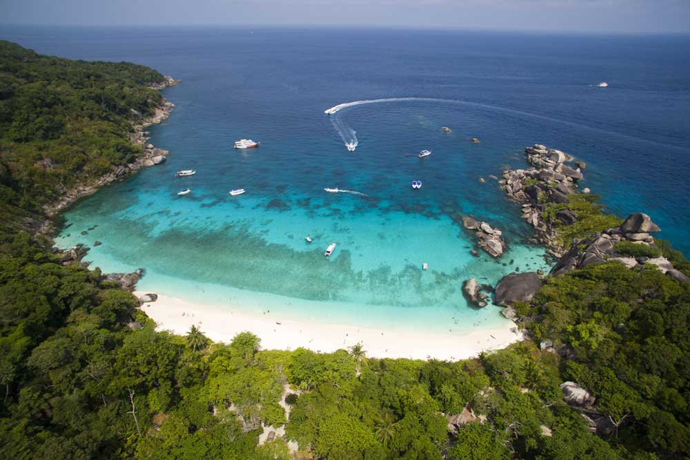 white beach of Similian Island - ariel view