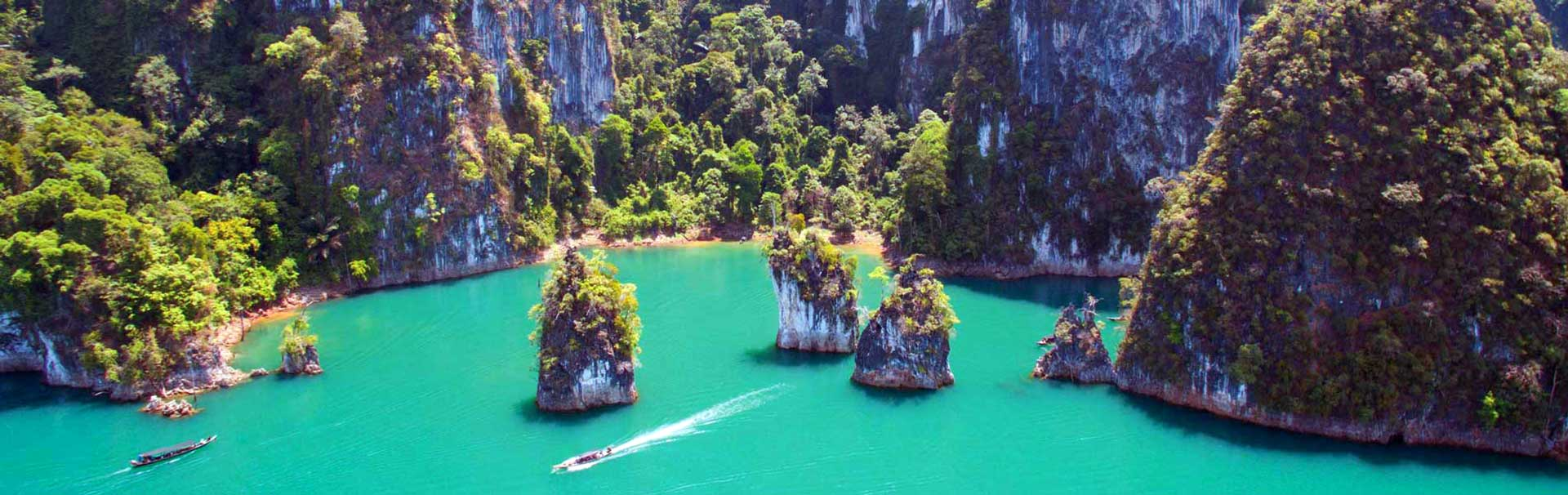 Aerial shot of Khao Sok Lake
