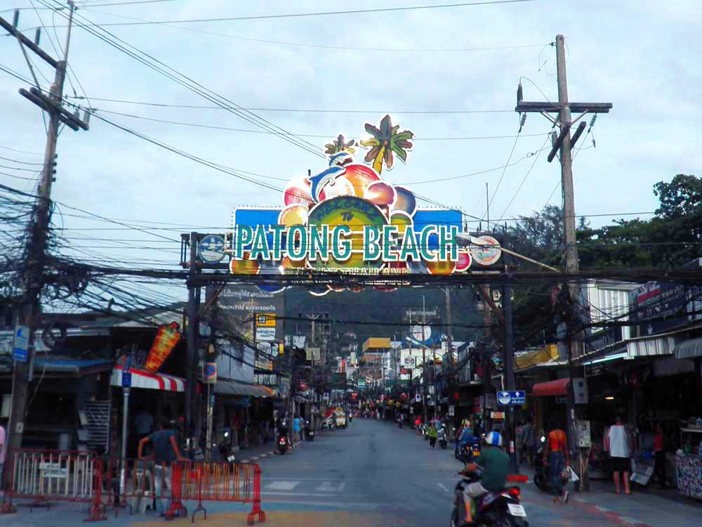 Patong Beach sign at dusk