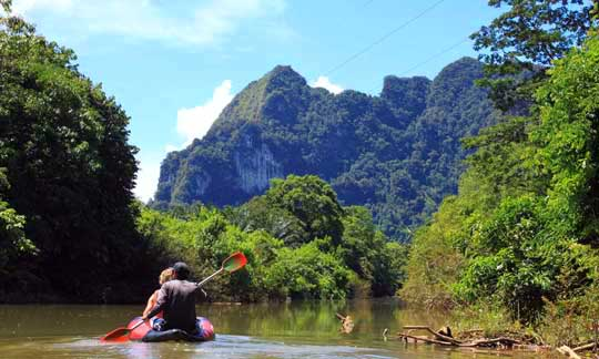 Canoeing through Khao Sok