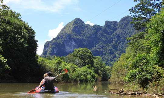 canoeing on Khao Sok River