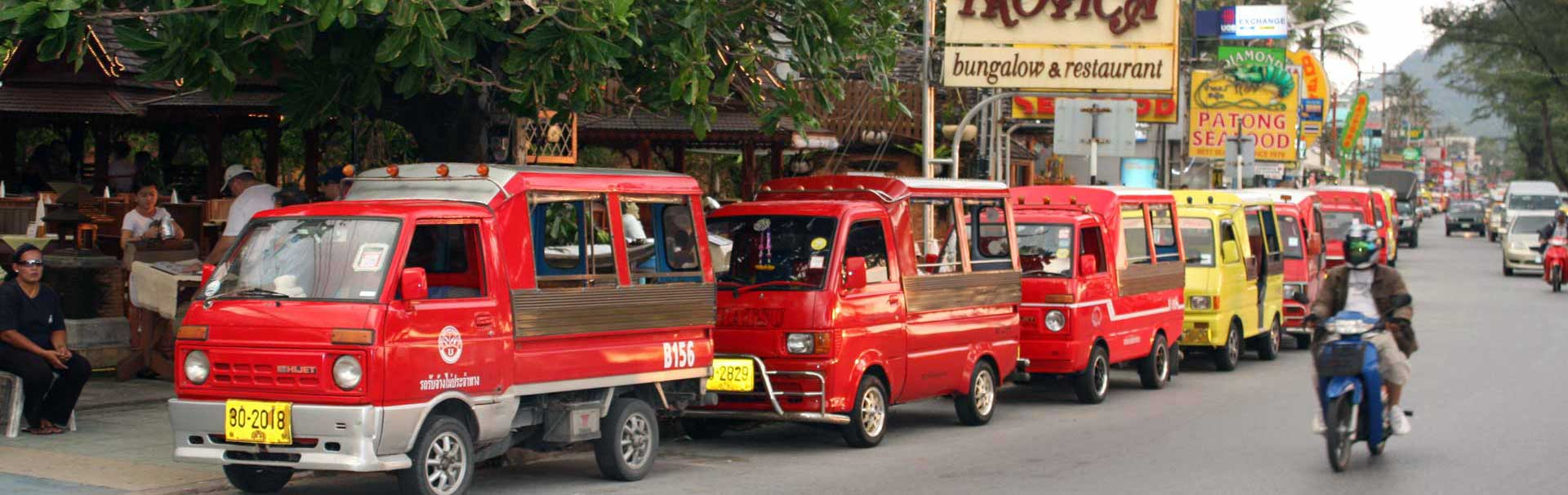 Tuk Tuks on a row in Phuket