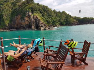 Relaxing on deck during this Khao Lak tour